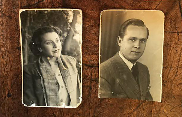 Two damaged family photographs