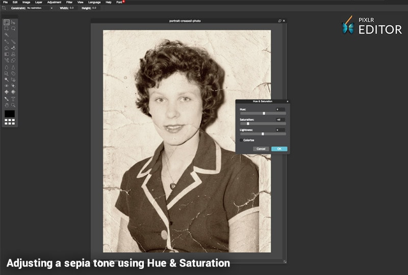 Restore your photo with Pixlr - add sepia tone with hue and saturation