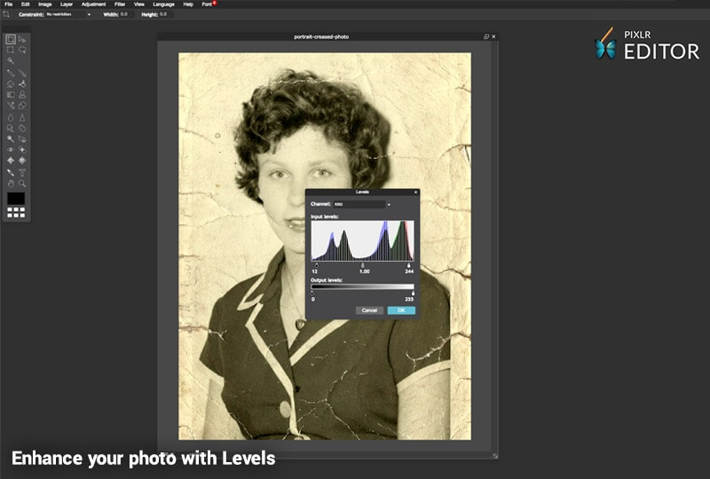 Restore your photo with Pixlr Levels