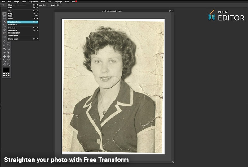 Restore your photo with Pixlr - Straighten with Free Transform