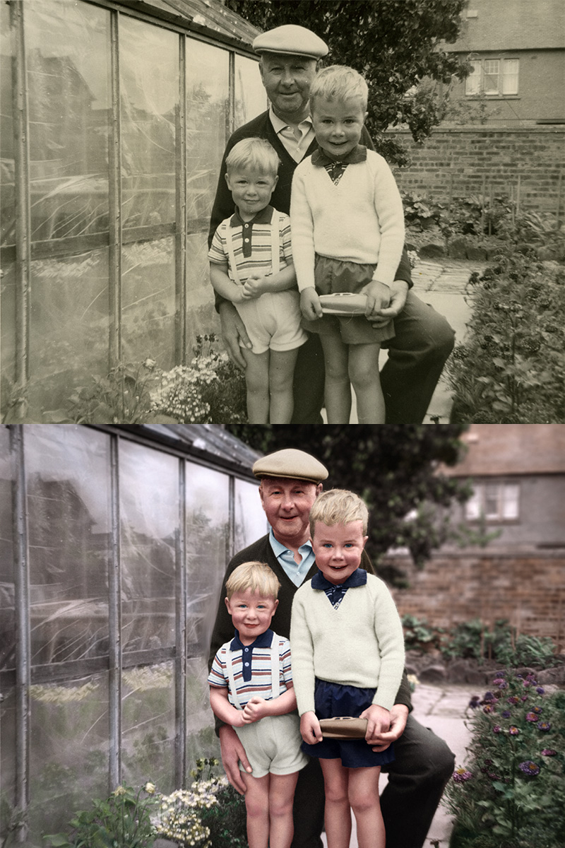 Black and white photo colourised showing before and after