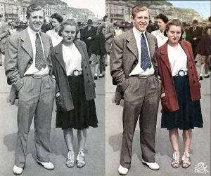 Sepia photo colourised - Couple on Holiday at the Seaside