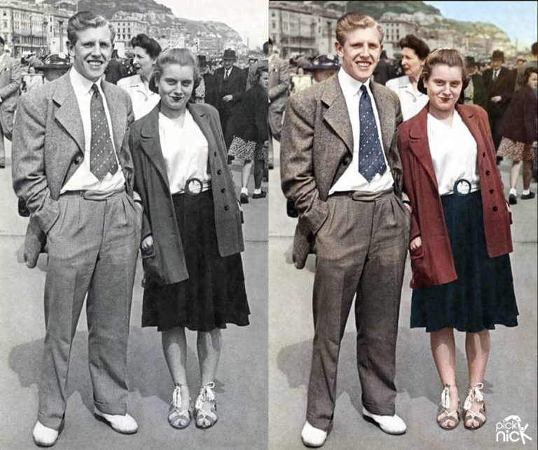 Sepia photo colourised couple on holiday at the seaside