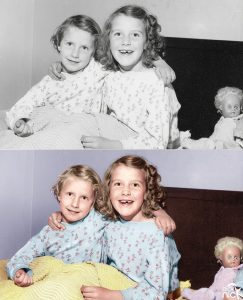 Coloured Black & white photo of two sisters