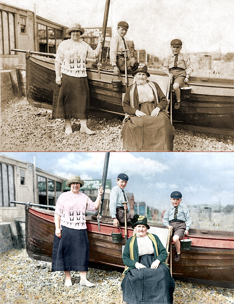 Colourised black & white photo of family at Whitstable