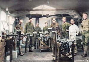 Colourised photo for RAF 100. 1917 - Royal Flying Corps Engine Fitters at Marham. RAF WWI Photo