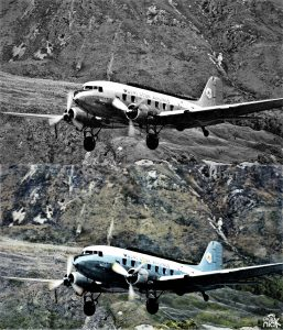 mount cook airlines DC-3 Colourised