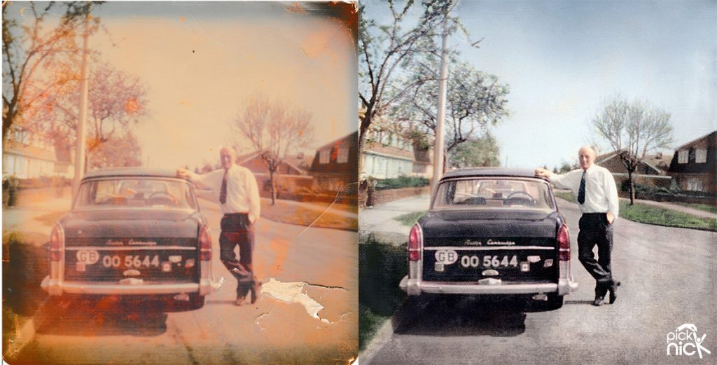 faded and damaged photo of man next to a car