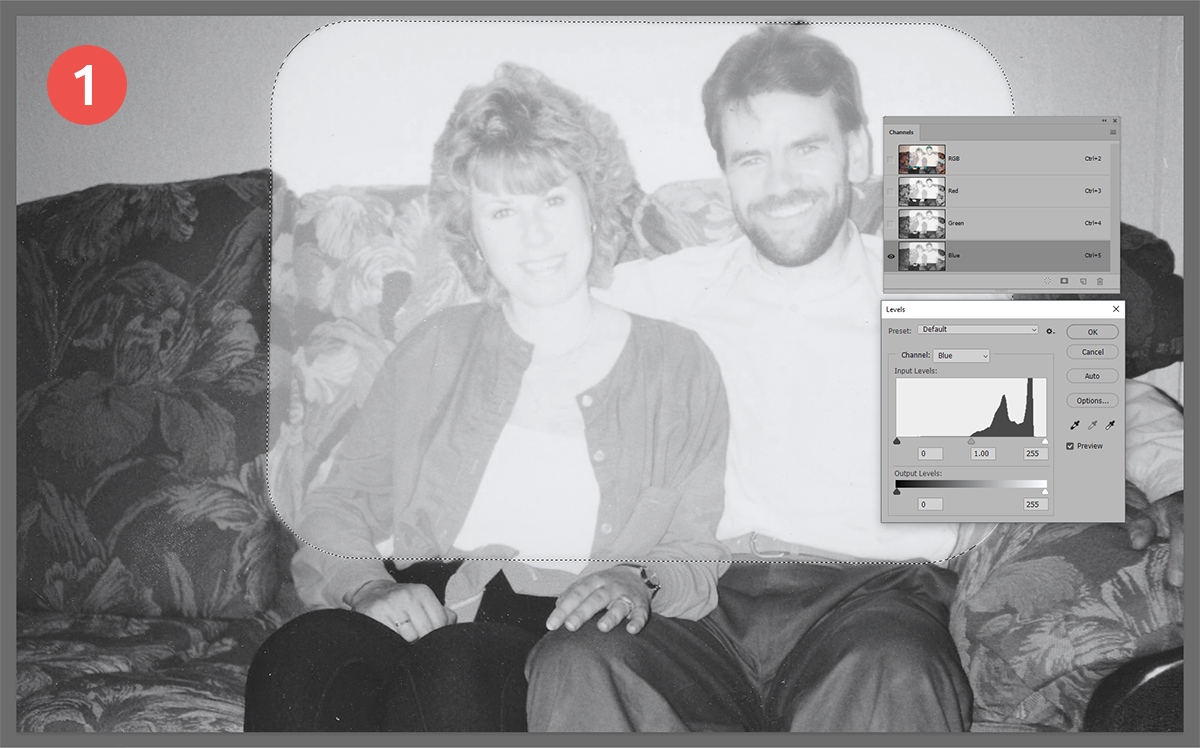 Equalise the tones - How to restore a sun faded photo