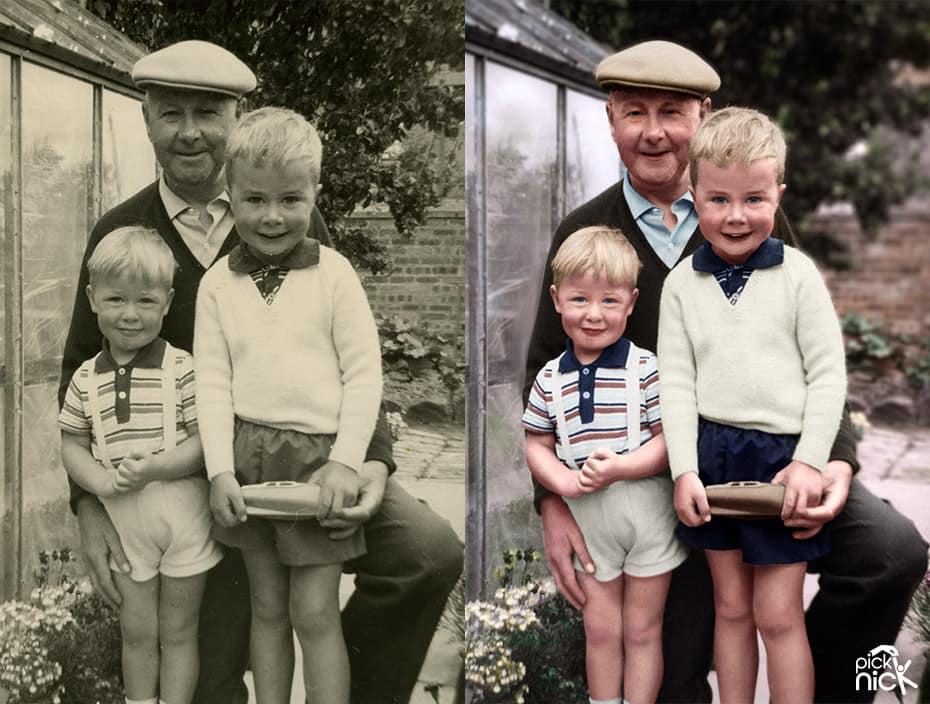 Coloured black white photo of a grandad with his grandchildren