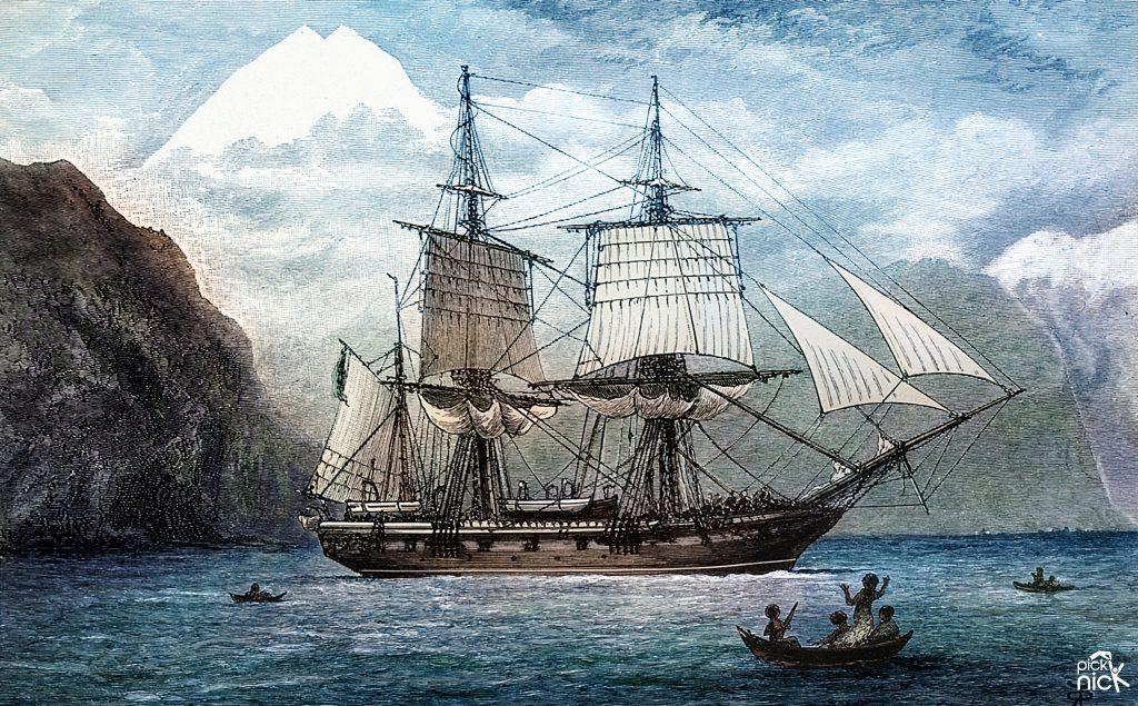 Colourised HMS Beagle in the Straits of Magellan at Monte Sarmiento.